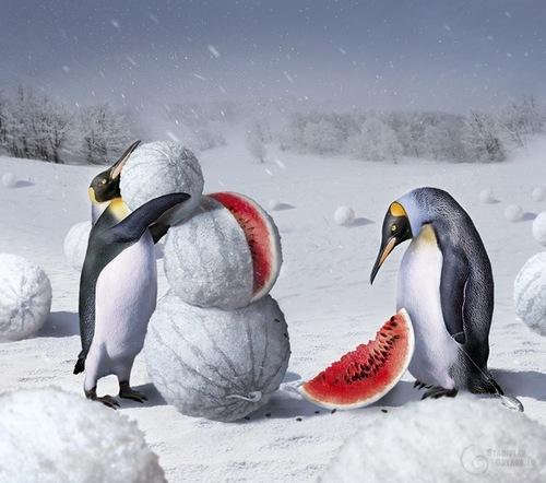 snowman watermelon